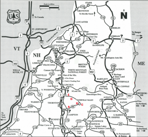 CAMPING THE WHITE MOUNTAINS OF NH Southern - Map of southern nh